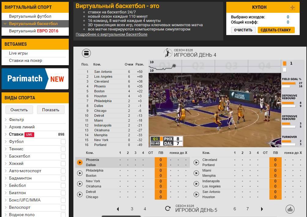 Виртуальный баскетбол ставки