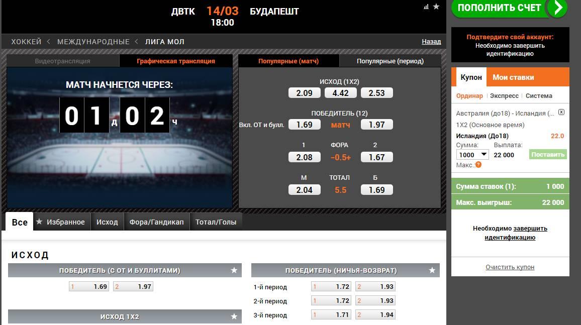 хоккей ставки букмекер