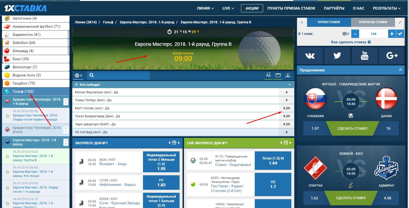 Делаем ставки на гольф правильно в БК 7