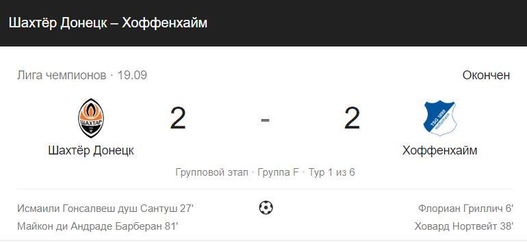 Прогноз на матч Лиги Чемпионов Хоффенхайм – Шахтер 27.11 3