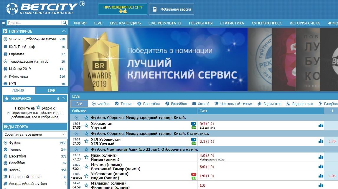 БК Бетсити – лучший букмекер 2019 в России 1
