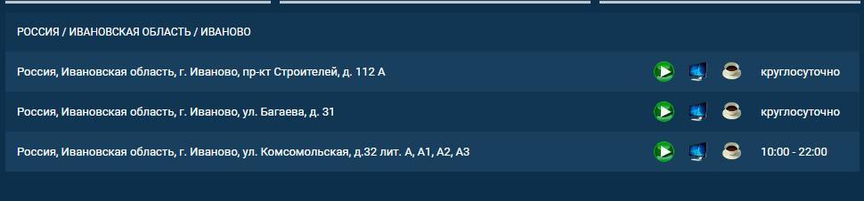 Адреса 1хСтавка в Иваново