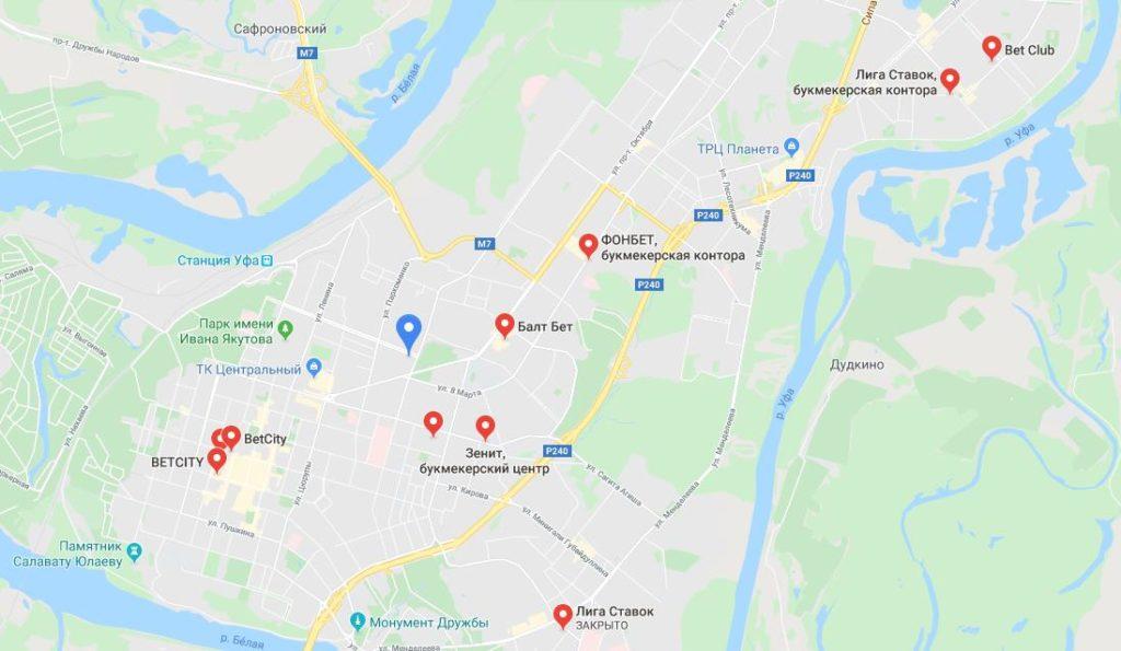 Уфимские БК на карте