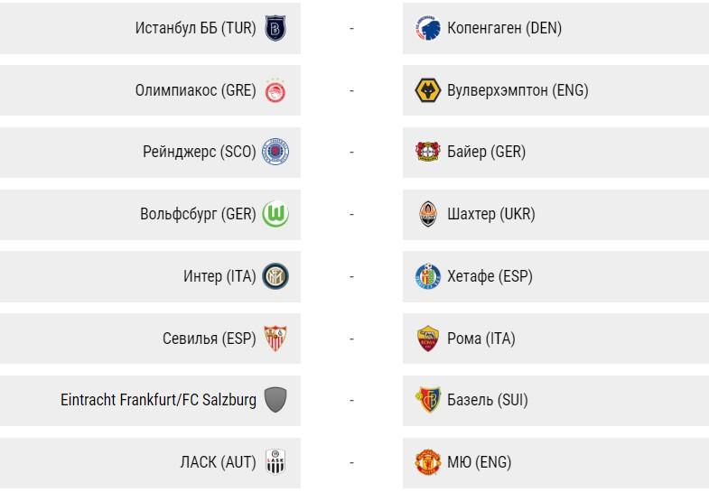 Матчи Лиги Европы в марте 2020