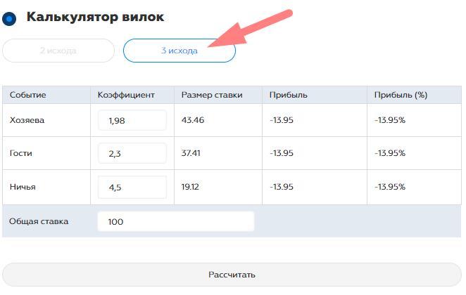 Калькулятор вилок онлайн на 3 исхода