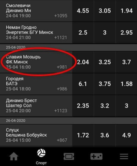 Матч между клубами Славия Мозырь и ФК Минск