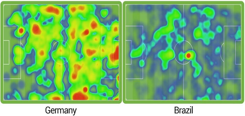 Сравнение тепловых карт сборной Германии и сборной Бразилии