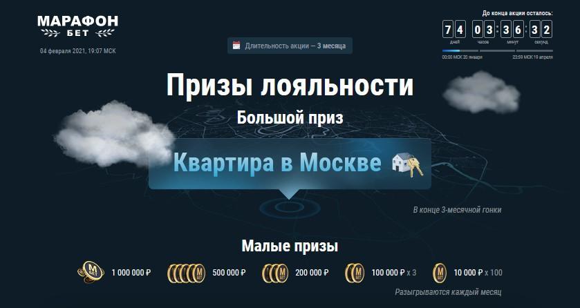 Квартира в Москве или 15 000 000 рублей от БК Марафон бет